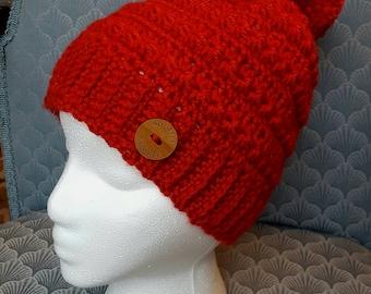 Womans Crochet Starr Beanie with Pom Pom - Red
