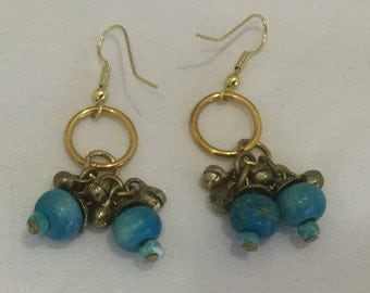 Fun turquoise and gold beads earrings