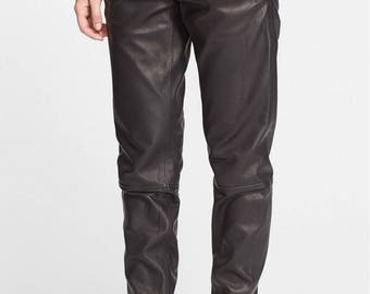 Straight Fit Leather Joggers