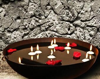 Schwarz Metall Kerzenhalter Schwimmende Kerzen Schwarz Metall Schale Haus  Garten Dekor Akzent Tisch Dekor Herzstück Rustikal