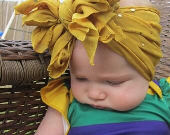 mustard sequin messy bow headband