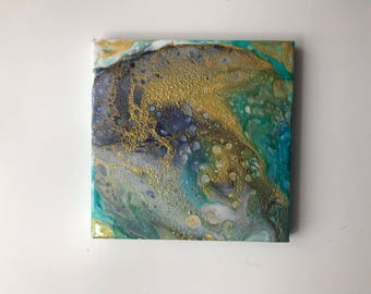 Gold Ocean 20 x 20 cm Acrylic Painting on stretched canvas Acrylic Pouring Unique artwork Art Women gift Birthday Small painting 8x8 For her