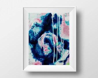 Abstract art, wall art, 8x10 art, Acrylic Abstract, abstract wall art, blue art, blue painting, blue wall art, modern art, modern painting