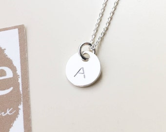 Personalized Gift for women,Personalized Initial Necklace,Letter Necklace gift for her,silver letter disc