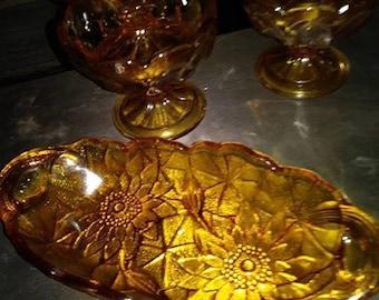 vintage amber relish dish