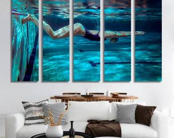 Swimmer Wall Art Swimmer Canvas Print Swimmer Large Wall Decor Swimmer Canvas Art Swimmer Painting Swimmer Poster Print Swimmer Home Decor