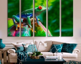 Frog Wall Art Frog Canvas Print Frog Large Wall Decor Frog Canvas Art Frog Painting Frog Poster Print Frog Home Decor Gift for She Artwork