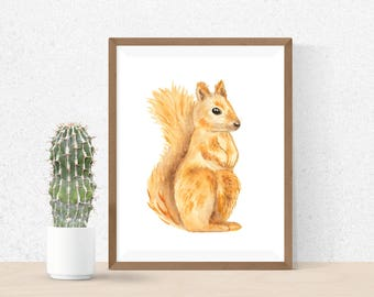 Watercolor Squirrel Painting