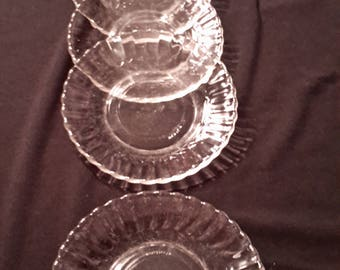 Four Fortecrisa ribbed saucers from Mexico