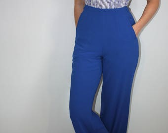 Retro 90s High Waisted, Wide Leg Royal Blue Trousers with Button Detail and Pockets 29in