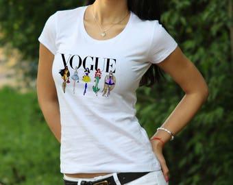 Disney Princess Shirt Disney Villian T-Shirt Vogue shirt Womens shirt Disney Princess tshirt Vogue t shirt Disney shirt gift for Women