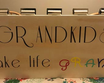 Grandkids make life grand wooden picture stand