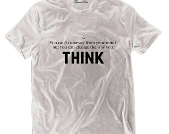 Men's White T-shirt with empowering quote (Runaway)