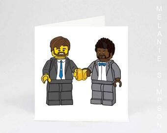 Lego bearded gay wedding art card printed on archival cotton