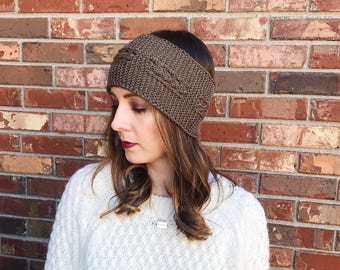 Chocolate Cable Knit Ear Warmer   Cable Knit Headband   Knit Headband   Warm Headwrap   Winter Headband   Ready to Ship   AuntBarbsBands