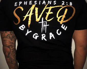 "Unworthy Saints ""Saved By Grace"" fitted tee"