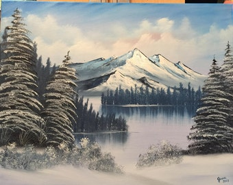 Oil Painting on Canvas. Custom. Landscape.  Mountains, sky, trees and snow. Lake. (Mountains in Snow)