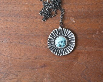 Turquoise Necklace - Handmade Turquoise Sterling Silver Pendant Sterling Silver Stone Bezel Stone Sun Necklace