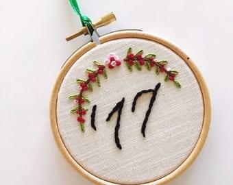 2017 Embroidered Christmas Ornament, 2107 Christmas Ornament, '17 Christmas Ornament, Embroidered Ornament, Christmas Ornament, Handmade