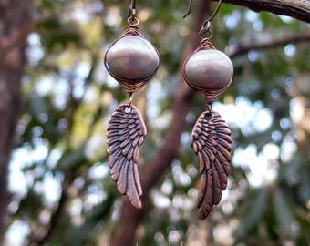 Wire-wrapped Freshwater Pearl Earrings || Copper Bird Wings | Hippie Chick | Flower Child | Bride | Woodland Wedding l Earrings Under 25