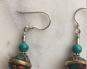 Peruvian turquoise and silver earrings