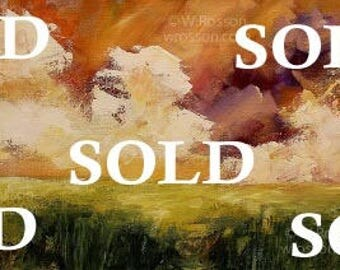 SOLD--------------Large Landscape Painting, Original Painting, Clouds, Fields, Orange Sky, Home Decor, Office Art, Wall Art, Winjimir, 12x30