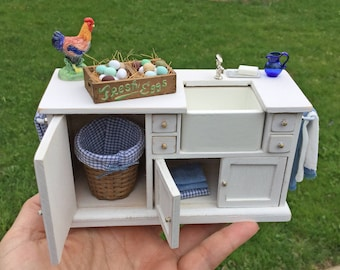 Shabby White Farmers Sink Decorated Cabinet - IGMA Artisan Diane Paone Dollhouse Miniature