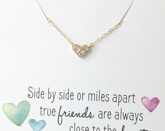 Diamond Heart Necklace, Gold heart Necklace, Best Friend Necklace, Friend Gift, Long Distance Friends, Birthday gift for her, Tiny Heart