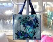 "Upcycled Floral Tote, 13""x12"", grocery tote bag, library tote bag, OOAK, eco bag, vintage tea towel, blue tote, blue flowers, blue florals"