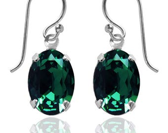 Swarovski Crystal Oval Drop Earrings Sterling Silver Emerald Green or CHOICE OF COLOURS