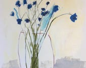 floral painting acrylic painting on paper flower painting little blue flowers wall art home decor original art