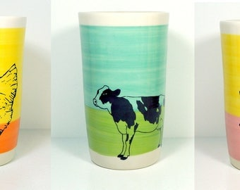 3 different cylinder vases / utensil holders Happy Popcorn OR Chicken OR Holstein Cow - Ready to Ship