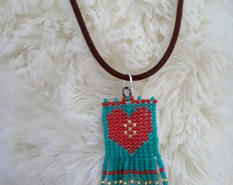 Beaded Heart Jewelry Pendant Necklace in Coral and Turquoise Colors