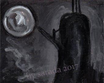 Original fan art Twin Peaks The Return, David Lynch monochrome black and white Phillip Jeffries David Bowie teakettle tea kettle