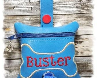 Dog Poop Bag Dispenser, Dog Poop Bag Holder, Blue PERSONALIZED Waste Bag Holder, Leash Dispenser, Zipper Bag, Leash Accessory, Dog Duty Bag