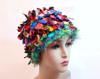 Boho Rag hat unique fun hat for women funky hat crazy hat shabby chic hat original beanie for women