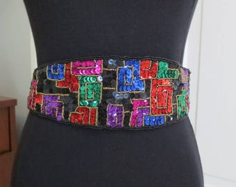 Vintage 80s Sequin Belt Statement Colorful Stage Dress Up Formal Black 27 to 34 Inches