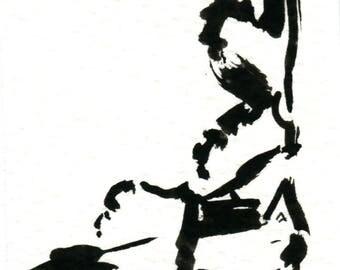 Original Black Cat Gouache Painting ACEO number 159