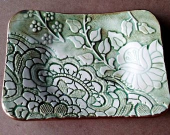 Ceramic Trinket Dish  Soap Dish Jewelry Dish damask and lace  Moss Green edged in gold