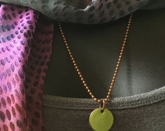 Copper Enamel Penny Pendant in Apple Green with Vintage Ball Chain