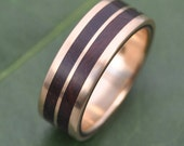Yellow Gold Lados Linea Nacascolo Wood Ring - ecofriendly wood wedding band, 14k recycled yellow gold and wood wedding ring, mens wood ring