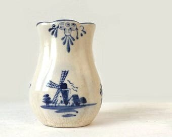 Vintage Delft Blue Miniature Vase, Dutch Windmill Pottery
