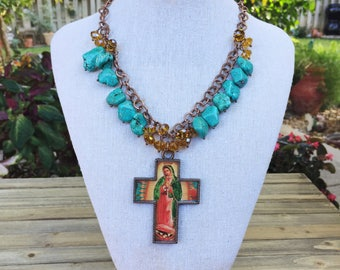 Turquoise and Guadalupe Cross Necklace