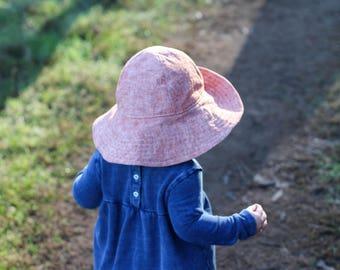Rust Baby Girl Wide Brim Sun Hat, Linen Cotton Blend Child Sun Hat