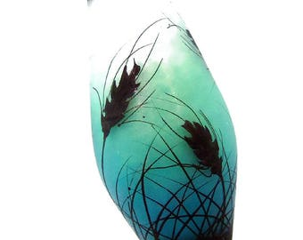 Wheat silhouettes on aqua teal fade, handmade lampwork glass bead focal by JC Herrell