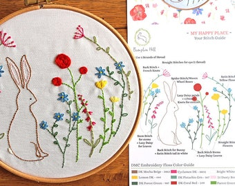 Embroidery Kit - My Happy Place - Printed panel- in a Wildflower Meadow - rabbit embroidery, DIY embroidery kit, flower embroidery pattern