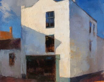5 Minutes to Open, Small Town series, townscape oil painting, direct from artist