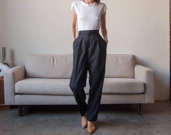 GIORGIO sant ANGELO black baggy trousers / wool pleated pants / high waist baggy pants / s / US 6 / 2828t