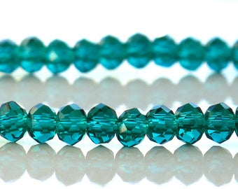 Crystal Rondelle 4x3mm Faceted Malachite Green half strand 72 beads