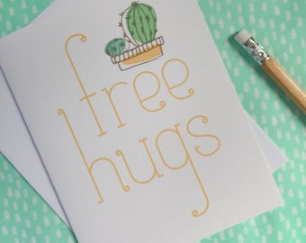free hugs cactus greeting card. everyday funny illustrated card. yellow card for friend. for her. for him. happy snail mail. keep in touch.